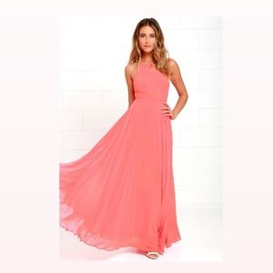 Lulus Mythical Kind of Love Coral Pink Maxi Dress